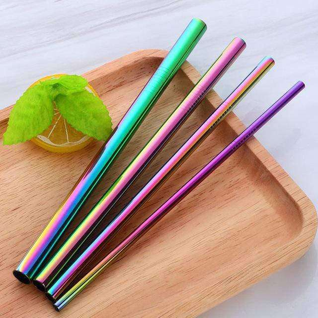 STAINLESS STEEL STRAWS 4 PACK - RAINBOW - HappyStraws