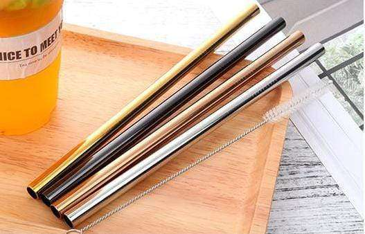 STAINLESS STEEL STRAWS 4 PACK 8MM - SET - HappyStraws