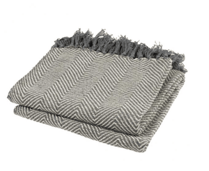 Gray Knotted Fringe Throw Blanket (2729435103317)