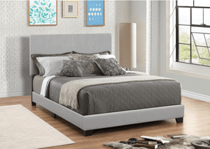 Faux Grey Leather Bed (2743565451349)