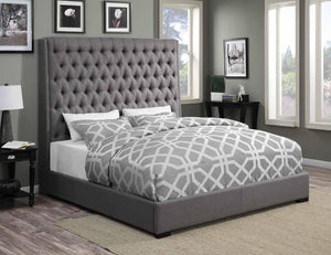 Camille Grey Upholstered Bed (2682831503445)