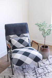Kahlo Fabric Accent Chair, Mono Gingham/ Vintage Midnight