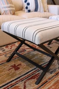 Upholstered Metal X-Base Ottoman Ivory with Black Stripe (2695492108373)