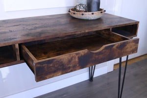 Industrial Antique Nutmeg Writing Desk (2682816856149)