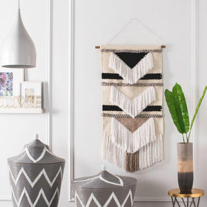 Sedona Woven Wall Art - Black & White Geometric (4094839586901)