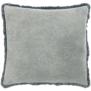Grey Washed Cotton Velvet Pillow (4297647358037)