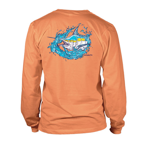 Men's UV50 Long Sleeve Shirt - Splash Marlin - Melon