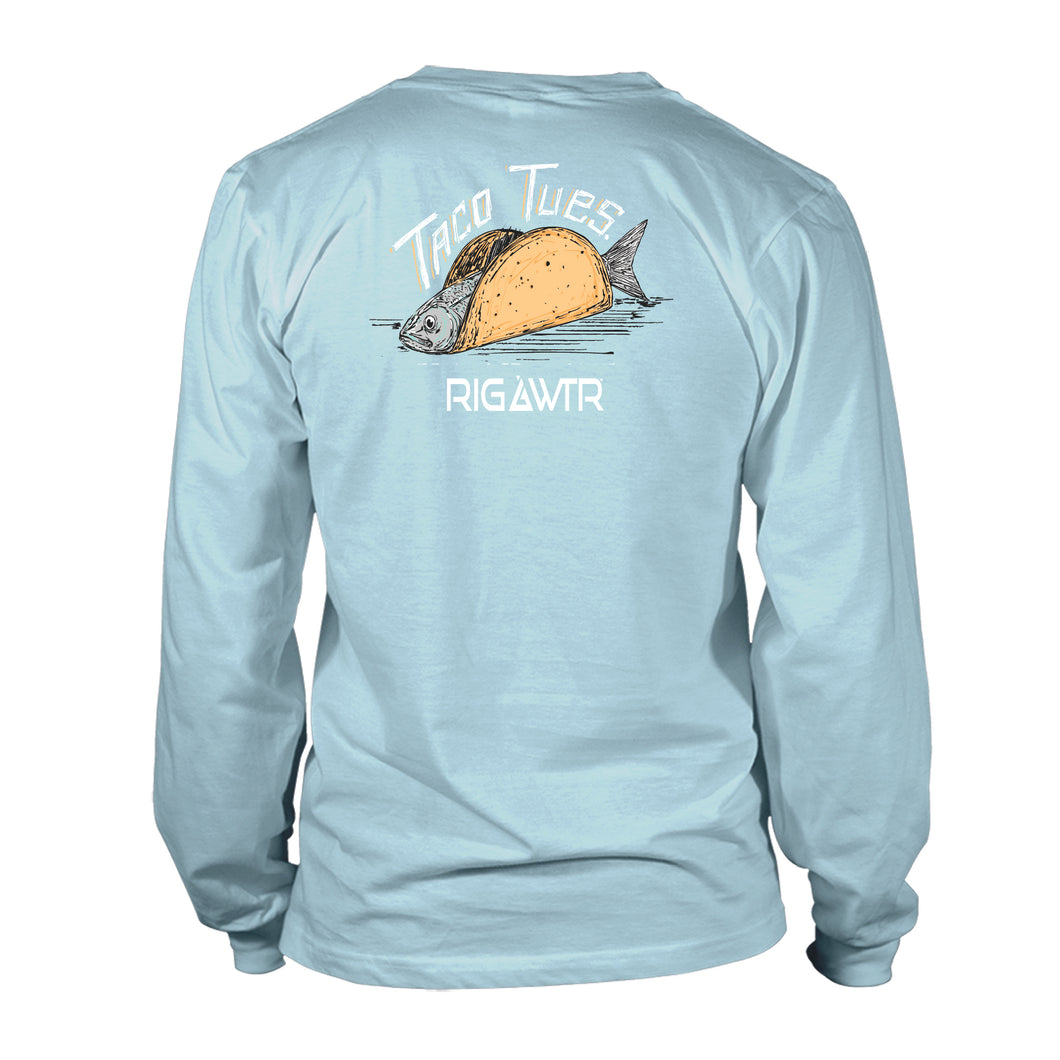 Men's Long Sleeve UV50 Performance Tee - Fish Taco - Sky Blue