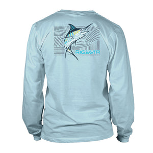 Men's Long Sleeve UV50 Performance Tee - Zen Marlin - Sky Blue