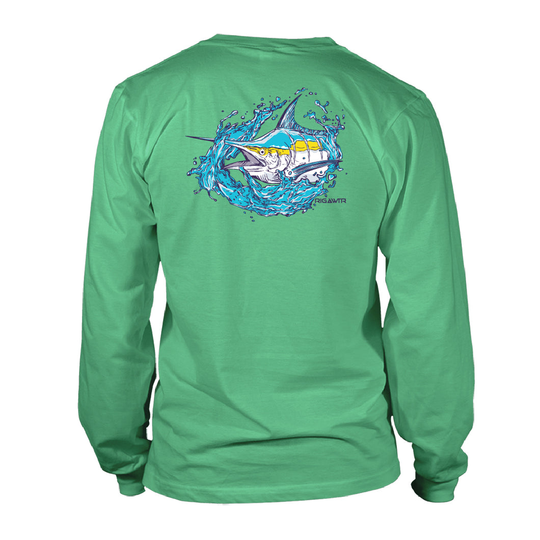 Men's UV50 LS Shirt - Splash Marlin - Seafoam