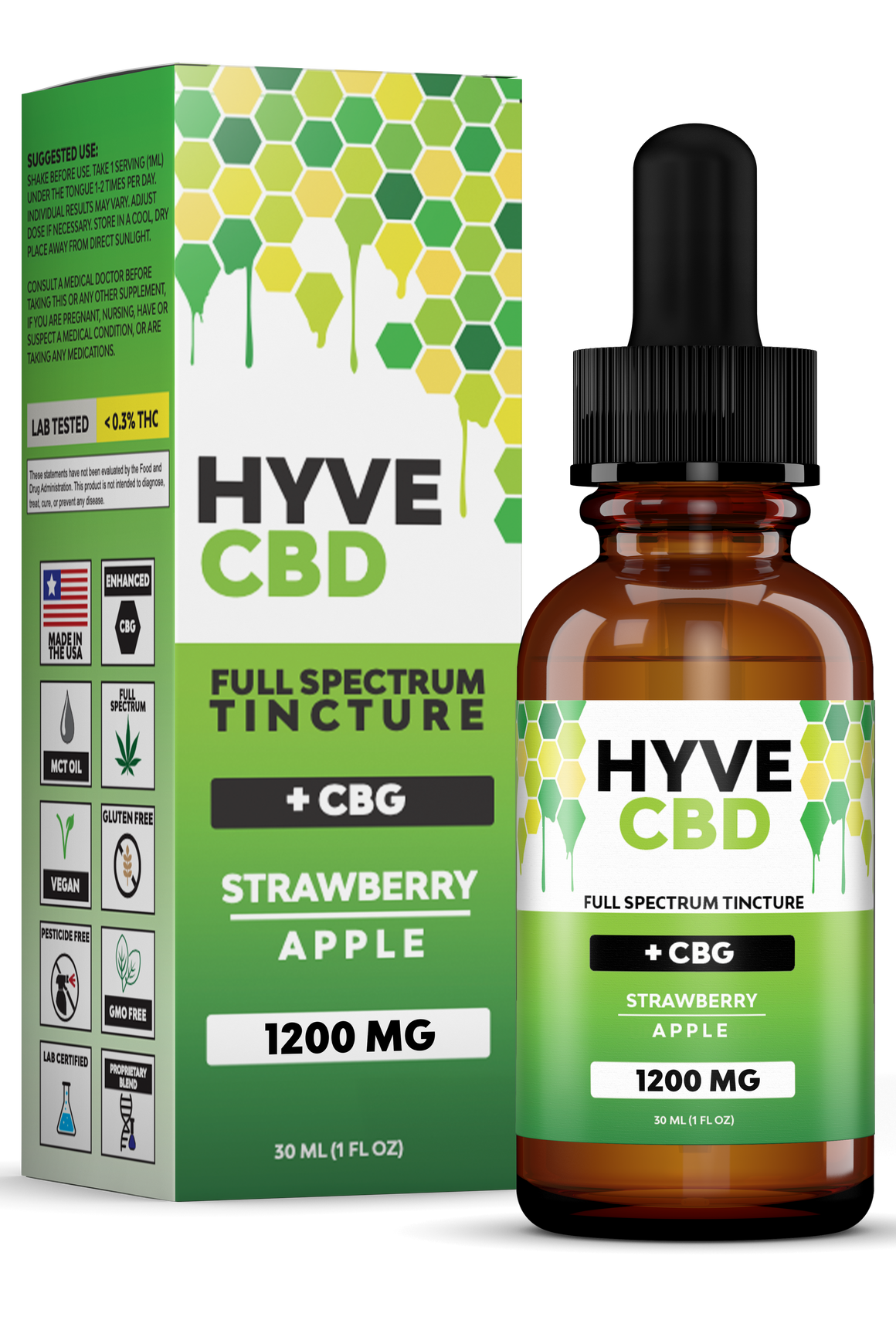 Hyve CBD Oil Tincture - CBG Strawberry Apple for sale at Modest Hemp Co.