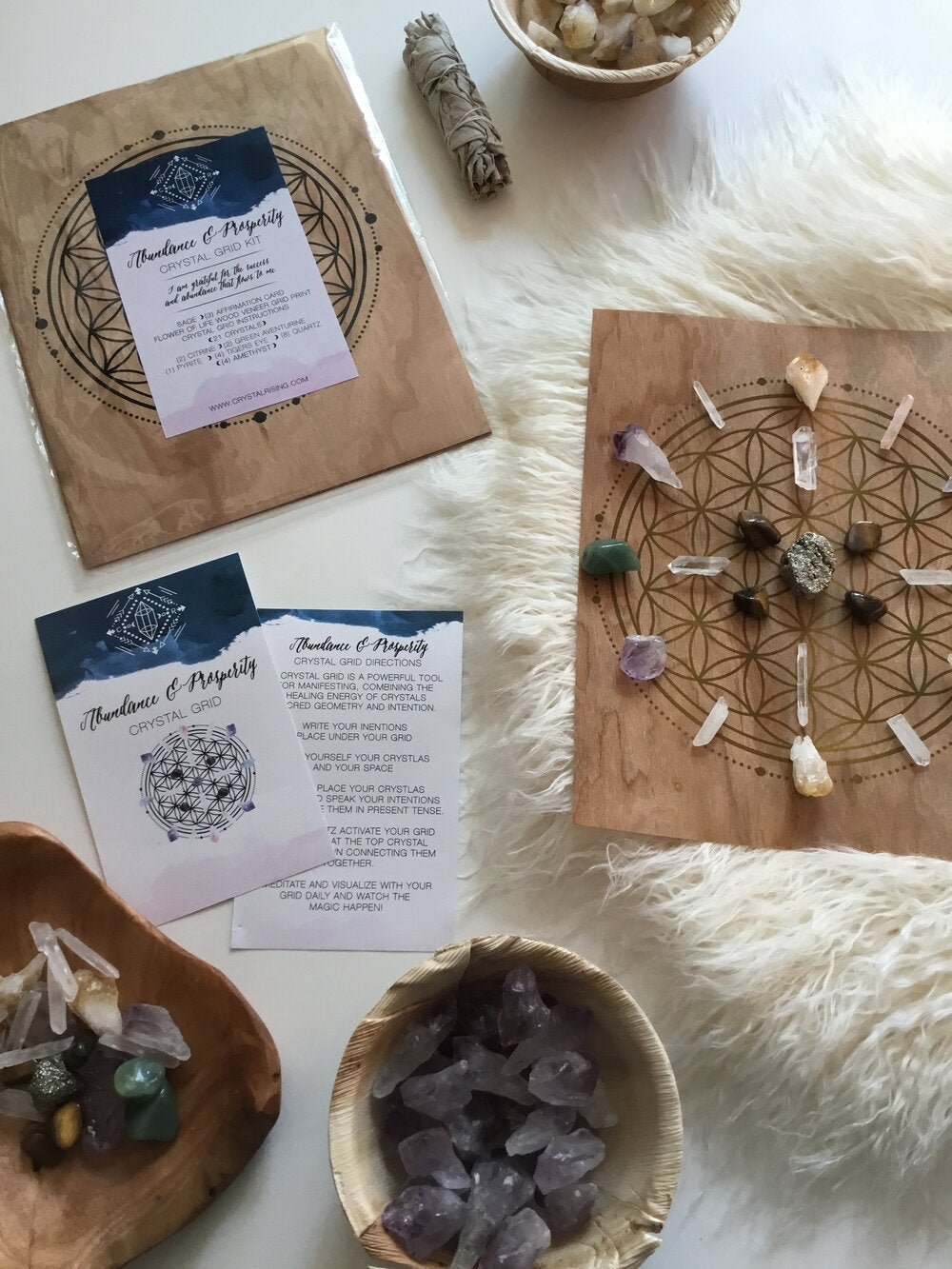 Crystal Rising - Crystal Grid Ritual Kit - for sale at Modest Hemp Co.