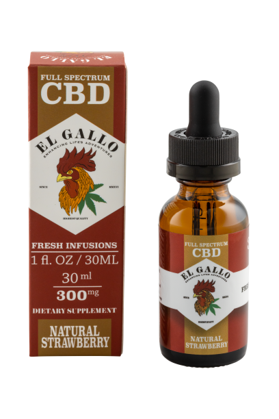 El Gallo CBD Oil Tincture - Natural Strawberry 30ml at Modest Hemp Co.