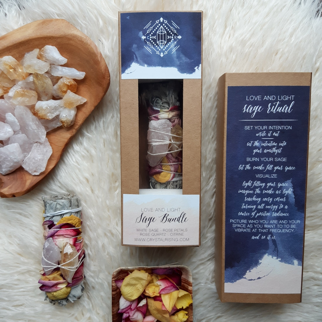 Love and Light Sage Bundle Kit - Crystal Rising for sale at Modest Hemp Co.