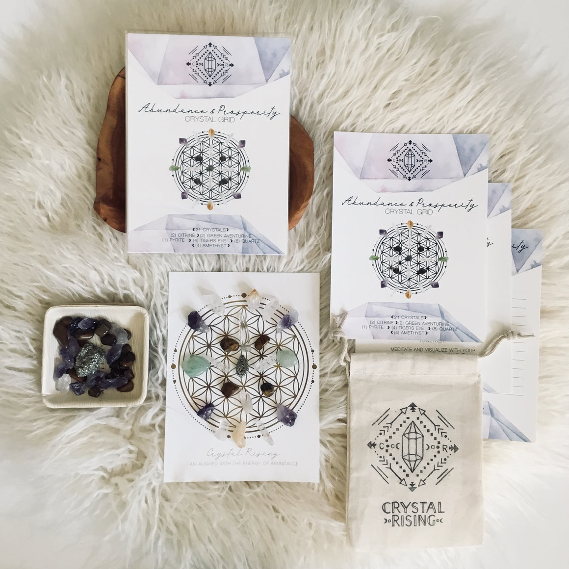 Mini Crystal Grid Ritual Kit - Crystal Rising - for sale at Modest Hemp Co.