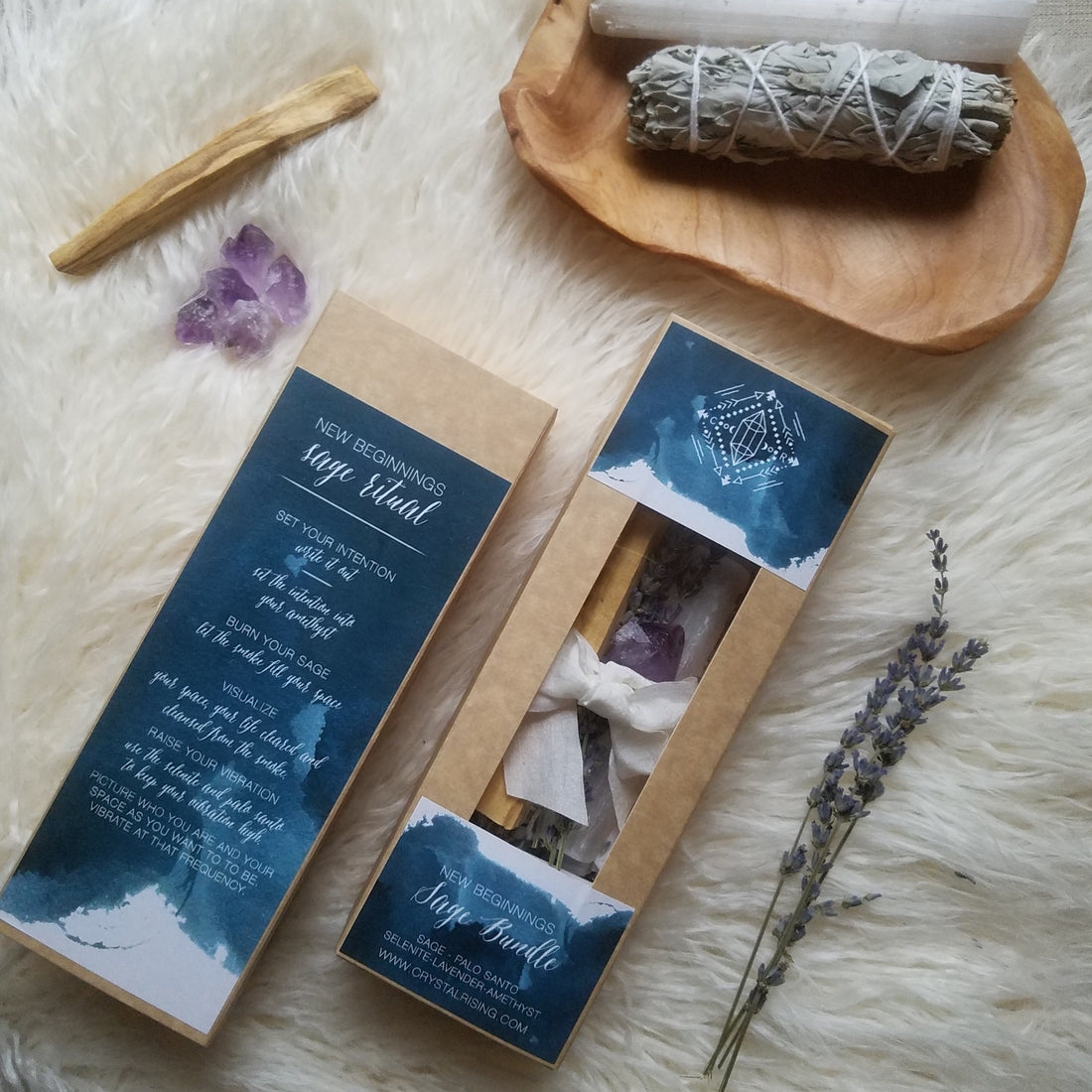 Crystal Rising - New Beginnings Sage Bundle Gift Set - Modest Hemp Co.