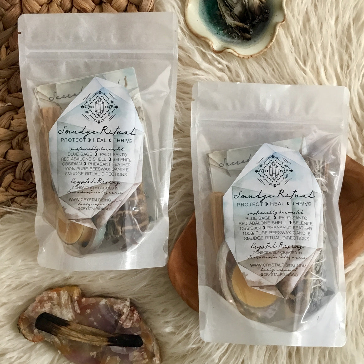 Smudge Ritual Kit - Crystal Rising - for sale at Modest Hemp Co.
