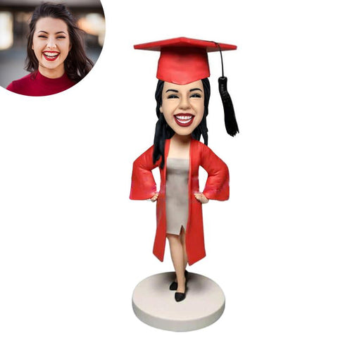 (SPECIAL OFFER -$10)Female Graduate In Red Gown Custom Bobblehead