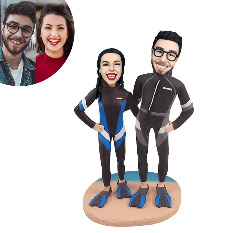 Diving Couple Beach Custom Bobblehead
