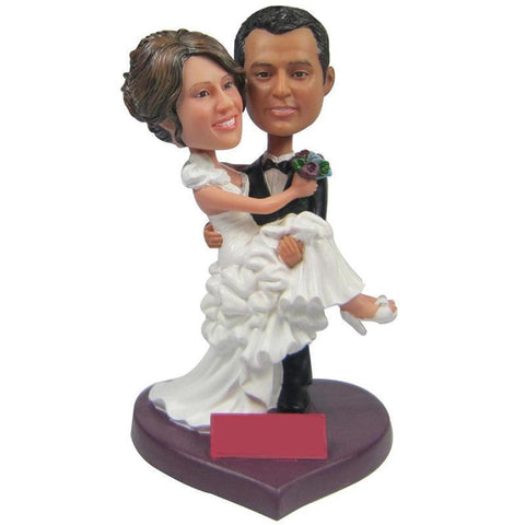 Bridegroom Holds The Bride Custom Bobblehead WEDDING My Bobblehead