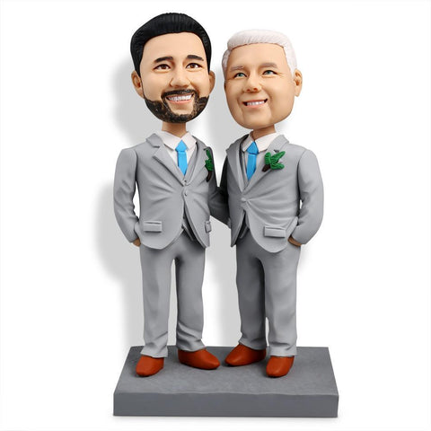 Casual Same-gender Male Couple Custom Bobblehead COUPLES My Bobblehead
