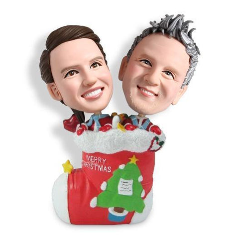 Christmas Gift Couple in Christmas Stocking Custom Bobblehead Christmas My Bobblehead