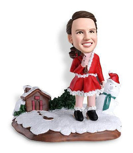Christmas Gift Lady with Snowman Christmas Custom Bobblehead Christmas My Bobblehead