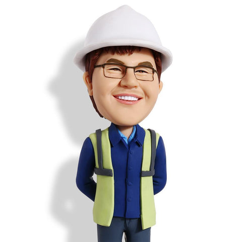Construction Worker Custom Bobblehead WORKS My Bobblehead