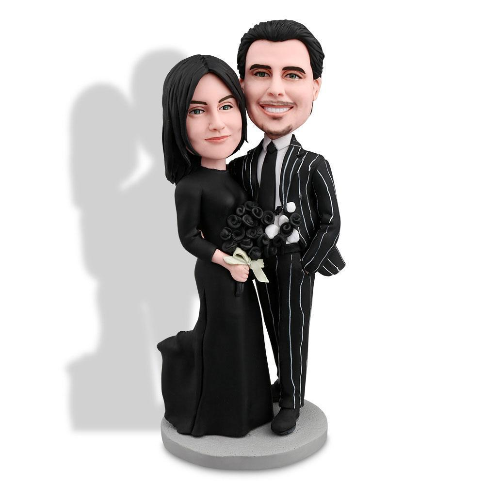 Couple In Black Suit Custom Bobblehead COUPLES My Bobblehead