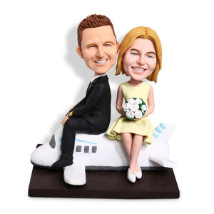 Couple On A Plane Custom Bobblehead VEHICLES My Bobblehead