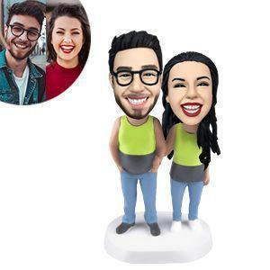 Couple Wearing Tank Tops Custom Bobblehead COUPLES My Bobblehead