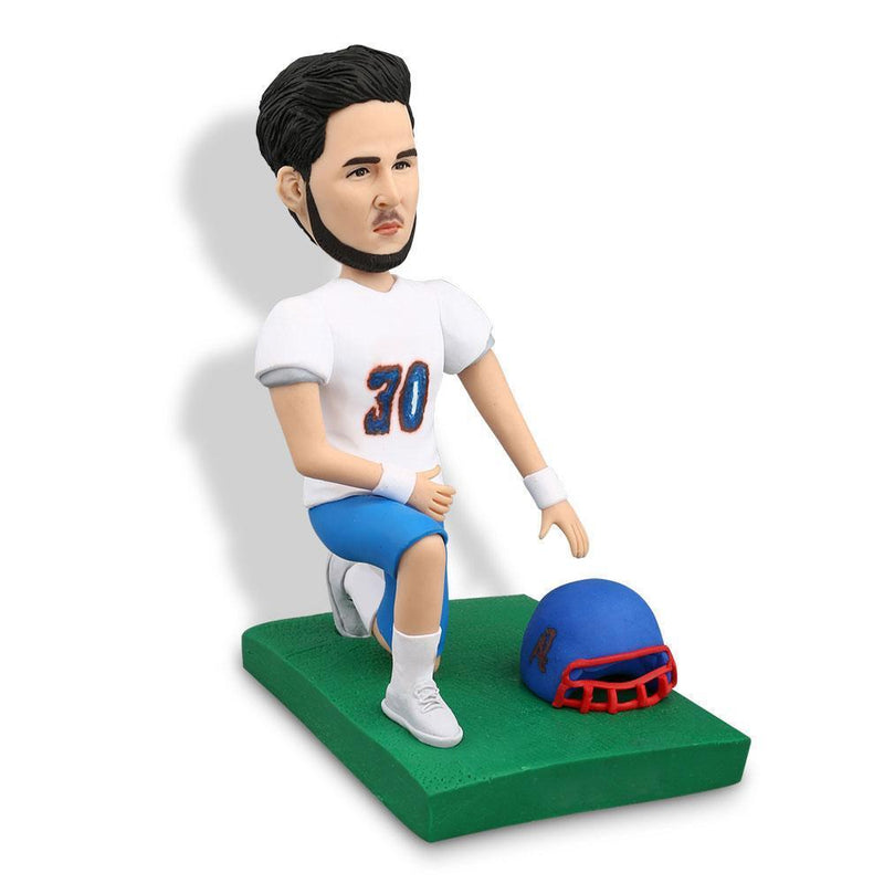 Down On One Knee Football Player Custom Bobblehead SPORTS My Bobblehead