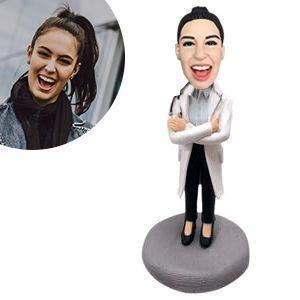Female Doctor in Lab Coat with Stethoscope Custom Bobblehead WORKS My Bobblehead