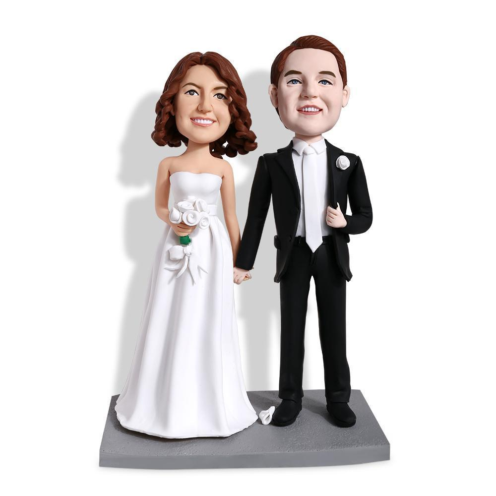 Groom and Bride Hand in Hand Wedding Custom Bobblehead WEDDING My Bobblehead
