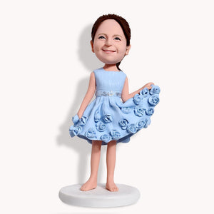 Little Girl With Gorgeous Dress Custom Bobblehead KIDS My Bobblehead