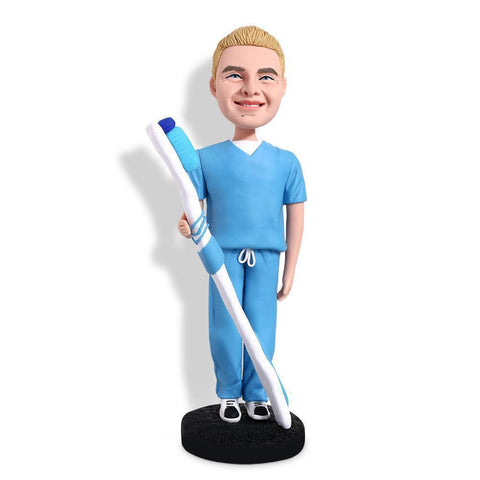 Male Dentist With A Toothbrush Custom Bobblehead WORKS My Bobblehead