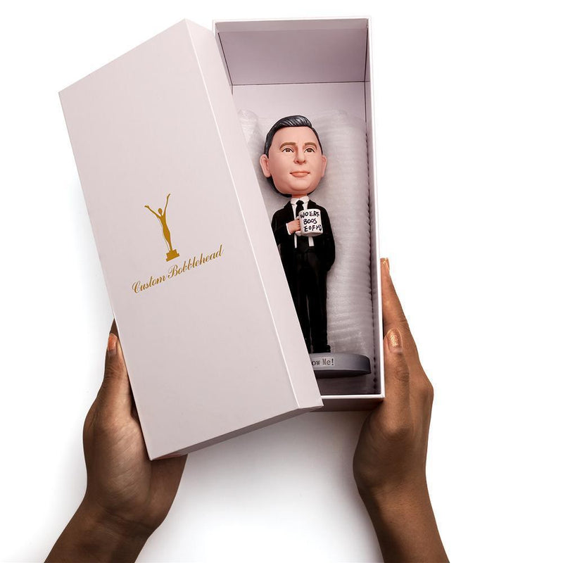 Male Executive In Black Suit Holding Money Custom Bobblehead WORKS My Bobblehead