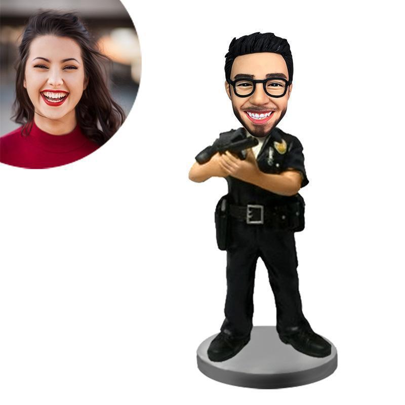 Male Police Holding Gun Custom Bobblehead POLICE&SOLDIER My Bobblehead