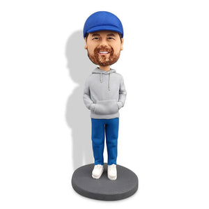 Man In Grey Hoodie Custom Bobblehead LEISURE My Bobblehead