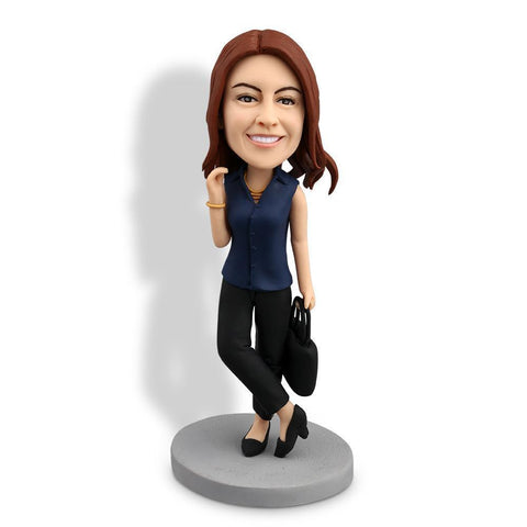 Office Lady With Briefcase Custom Bobblehead WORKS My Bobblehead