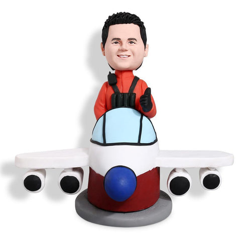Pilot On The Plane Custom Bobblehead VEHICLES My Bobblehead