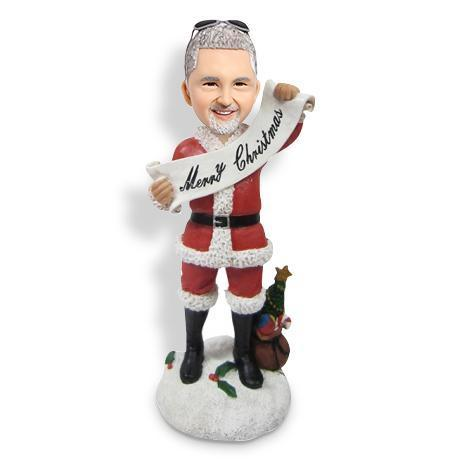 (SPECIAL OFFER -$25) Christmas Gift Male with Merry Christmas Banner Custom Bobblehead Christmas My Bobblehead