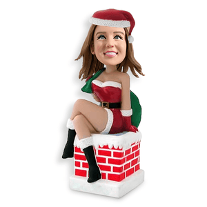 (SPECIAL OFFER -$25) Christmas Gift Sexy Lady Sit on Chimney Custom Bobblehead Christmas My Bobblehead