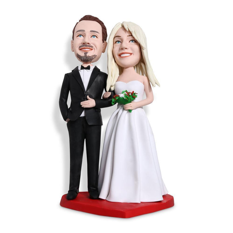 Wedding With Black Suit Holding Flower Custom Bobblehead WEDDING My Bobblehead