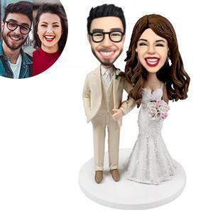 Wedding With Creamy White Suit Custom Bobblehead WEDDING My Bobblehead