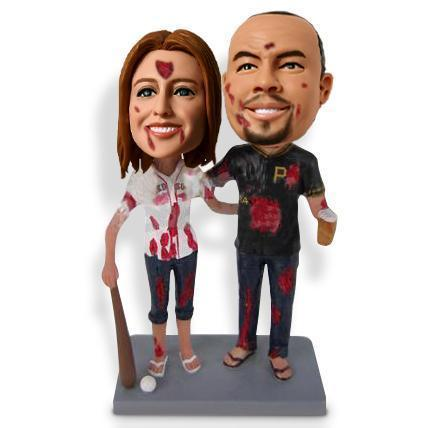Zombie Baseball Couple Custom Bobblehead Halloween My Bobblehead