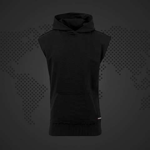STEREO BASICS SLEEVELESS BLACK HOODY