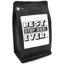Load image into Gallery viewer, Best Step-Son Ever – Coffee Gift – Gifts for Coffee Lovers with Funny, Inspirational Quotes – Best Gifts for Coffee Lovers for Christmas, Birthdays, Anniversaries – Coffee Gift Ideas – 12oz Medium-Dark Roast Coffee Beans
