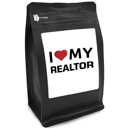 I Heart My Realtor – for Coffee Lovers with Funny, Inspirational Quotes – Best for Christmas, Birthdays, Anniversaries – Coffee Ideas – 12oz Medium-Dark Roast Coffee Beans