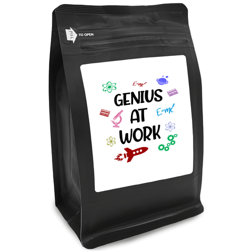 Genius At Work – Coffee Gift – Gifts for Coffee Lovers with Funny, Inspirational Quotes – Best Gifts for Coffee Lovers for Christmas, Birthdays, Anniversaries – Coffee Gift Ideas – 12oz Medium-Dark Roast Coffee Beans